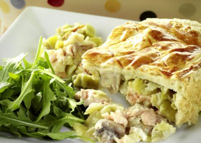 Salmon, Mushroom, and Leek Pie