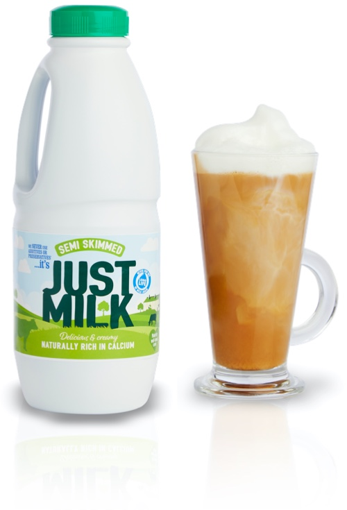 Semi-Skimmed JUST MILK perfect for frothy coffee