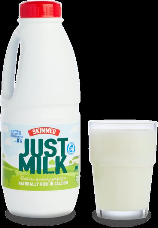 long life Skimmed JUST MILK bottle and glass of milk